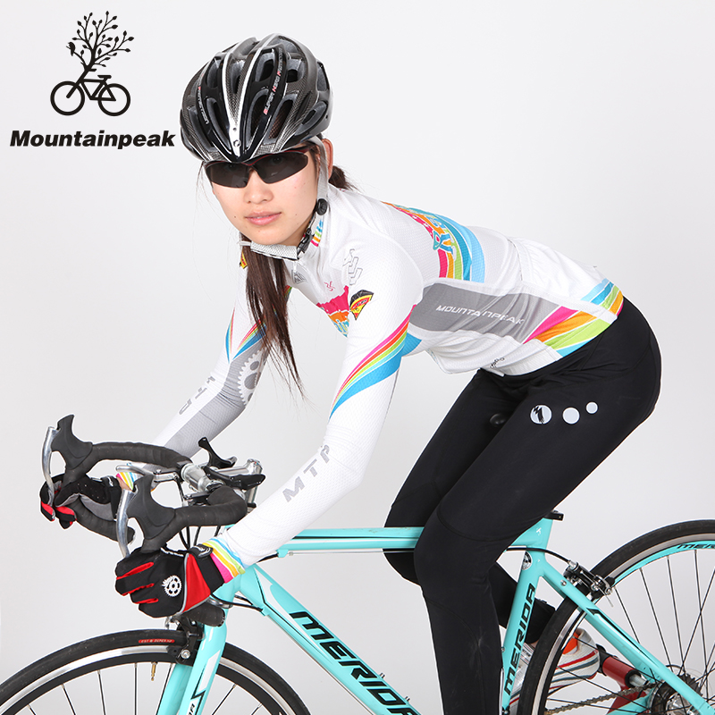 Mountainpeak spring and autumn thin cashmere female bicycle clothing sleeved suit mountain bike cycling jersey windrider rainbow