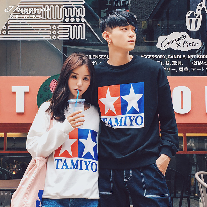 Mr. jiang nan original men's personalized printing korean version of the influx of men and women lovers hedging loose sweater coat autumn