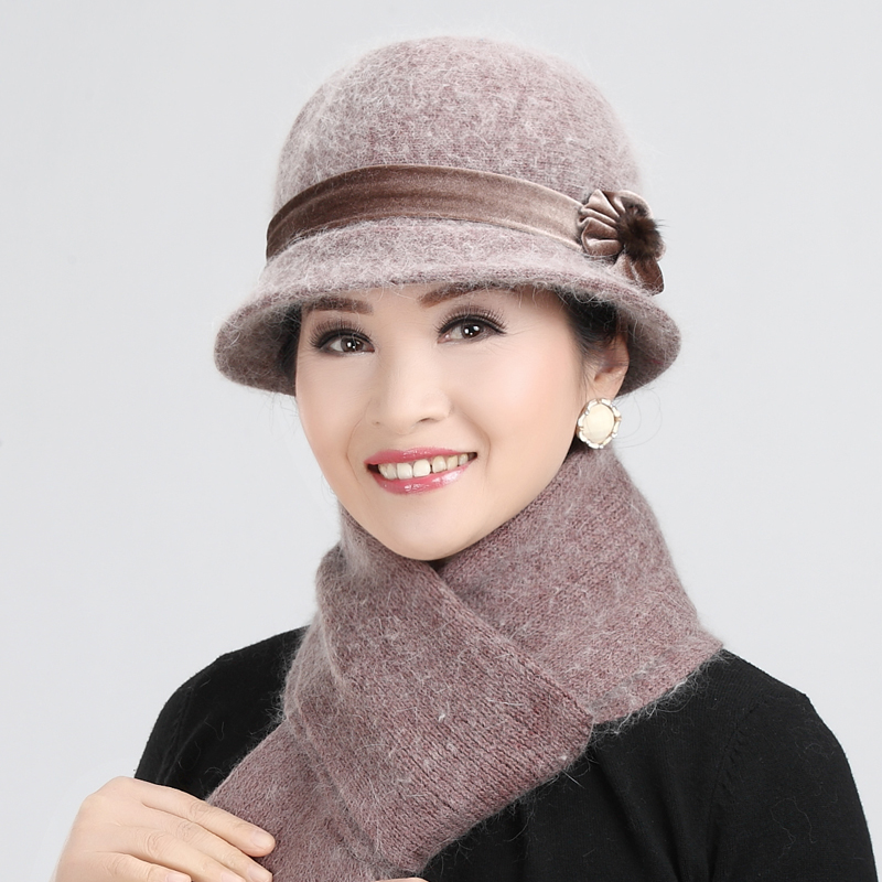 Ms. autumn and winter hat ms. middle-aged mom hat hat knitted hat rabbit fur hat warm hat gifts to share