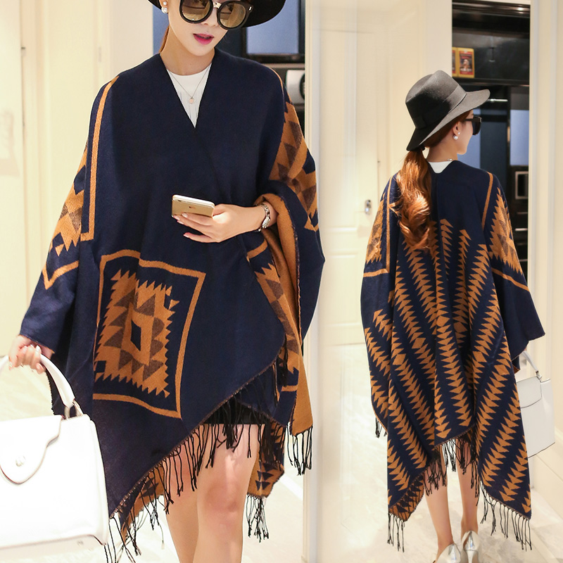 Ms. autumn and winter in europe and america split cloak to increase the thick bohemian national wind scarf shawl dual air conditioning