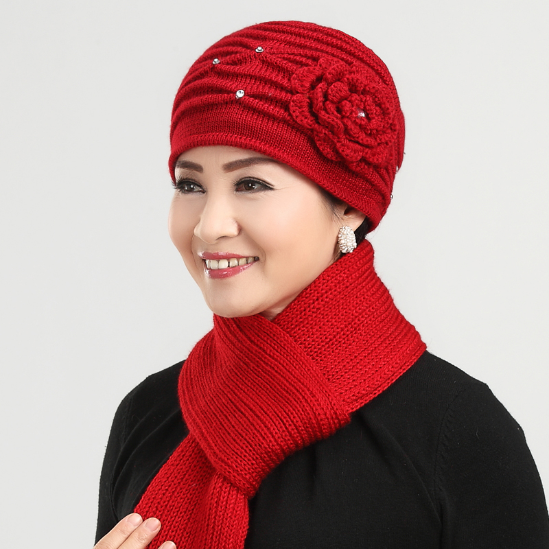 Ms. autumn and winter wool hat in the elderly elderly elderly elderly mom hat hat female winter hat knitted hat scarf