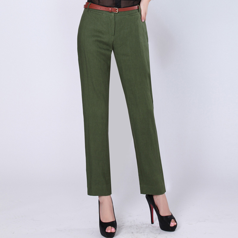 Ms. genuine amass 2016 autumn new solid color linen pants casual pants nine points pants with belt female