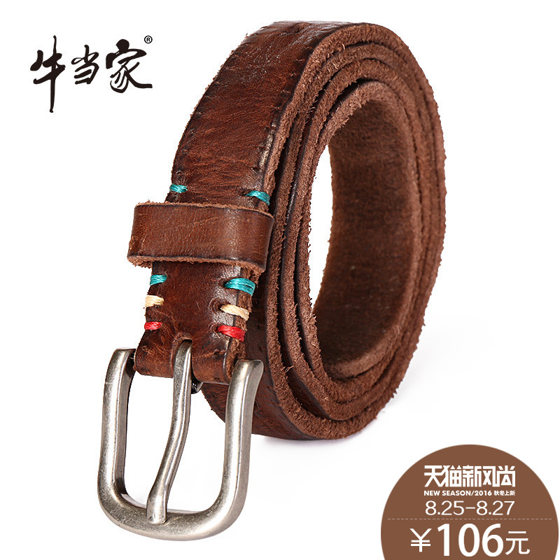 Ms. headed cow leather belt decorated thin belt female korean fashion hollow female belt leather belt female models 5109