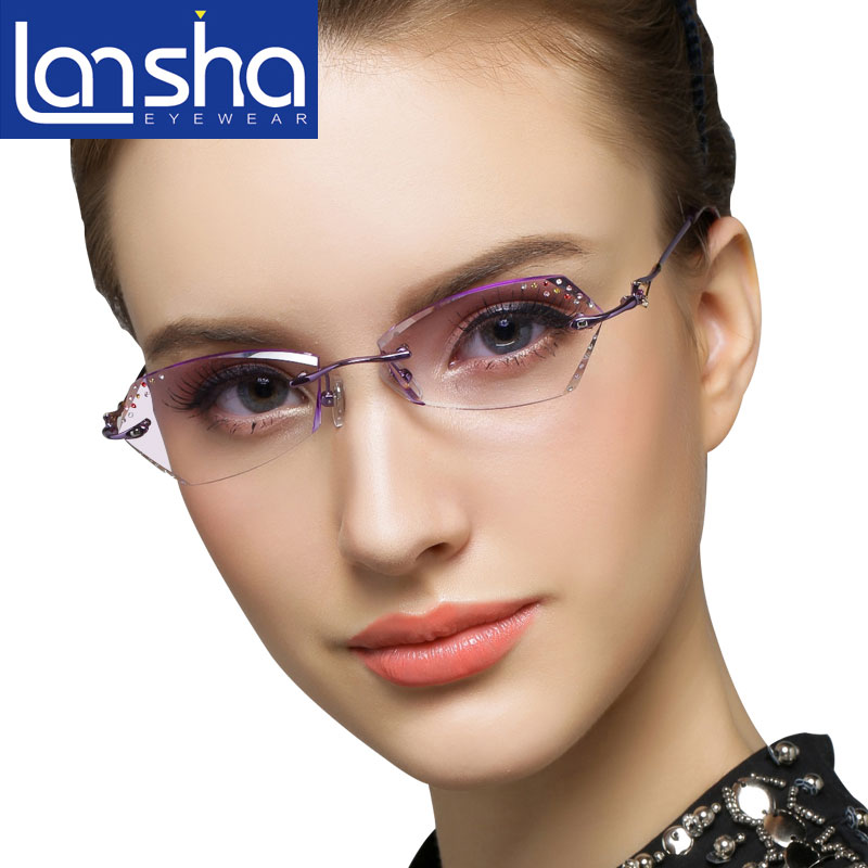 Ms. korean luxury diamond diamond trimming glasses rimless glasses myopia glasses more drilling sky heart w215