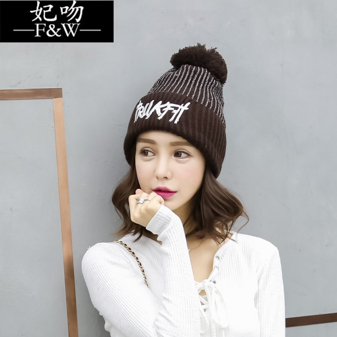 Ms. korean tidal winter hat cute plus thick velvet solid color wool cap autumn and winter days warm knit hat ear
