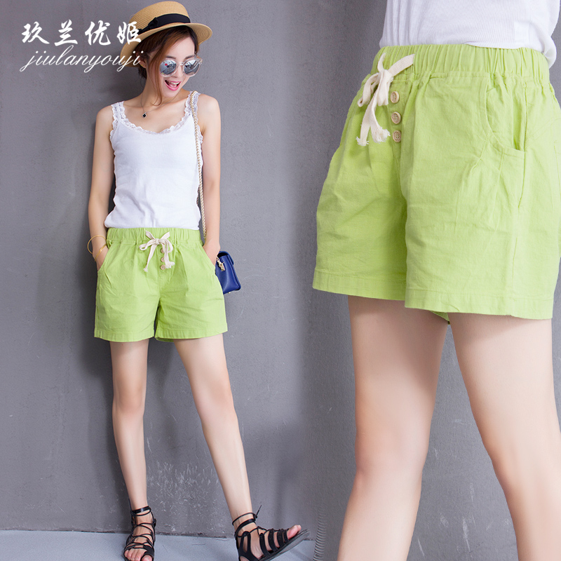 Ms. lan yuki jiu korean version of loose cotton candy colored shorts summer shorts hundred ride straight wide leg pants casual pants