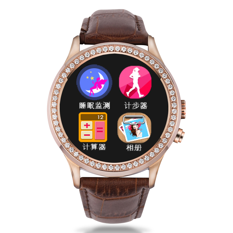 Ms. round smart bluetooth smart watch calorie pedometer accessorise smart wrist table inlaid diamond watches