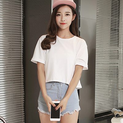 Ms. short paragraph slim was thin summer korean students loaded girlfriends round neck solid color loose t-shirt short sleeve t-shirt tide