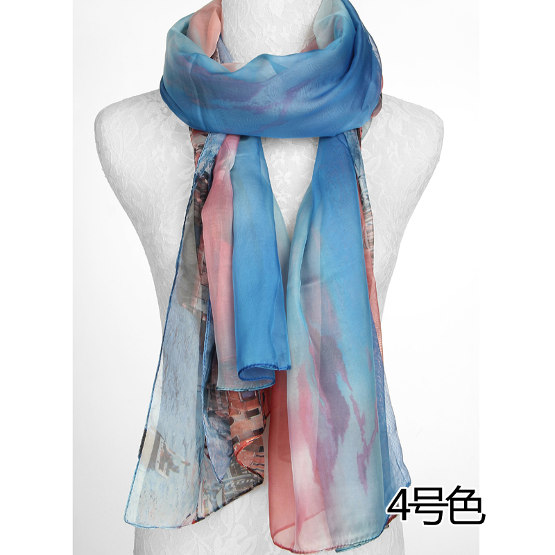 Ms. spring and autumn scarf decorated female wild color chiffon scarf printed scarves scarf autumn slim ethnic