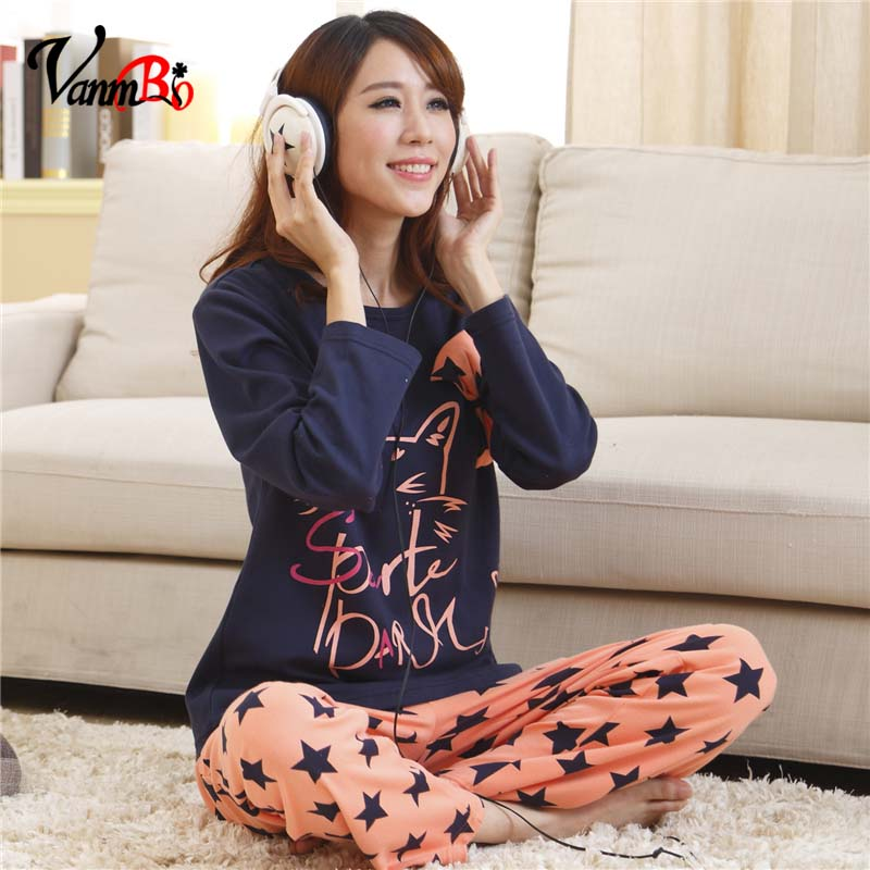 Ms. spring and summer long sleeve pajamas cute cartoon vanmbo printing female pajama pants casual home service ranks series