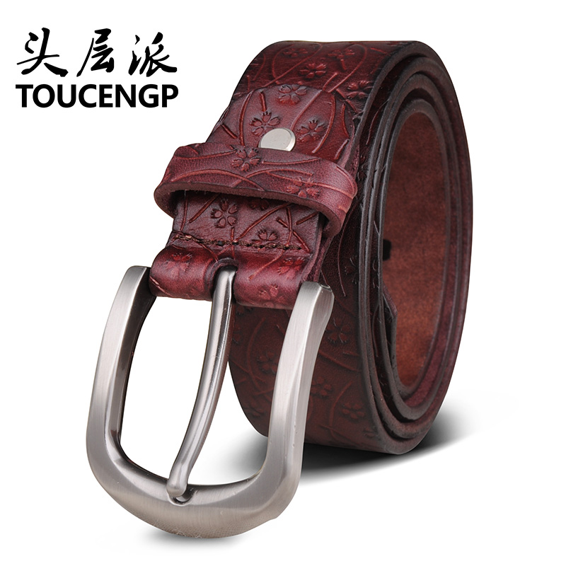 Ms. wide leather belt first layer of pure leather pin buckle korean wild animal year red belt leather belt new single leather