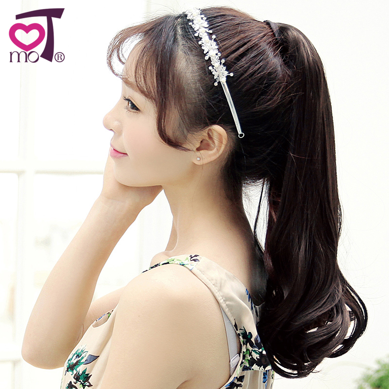 Mu wig waves roll style ponytail tied matte lifelike female fluffy wig long pear volume ponytail wig piece