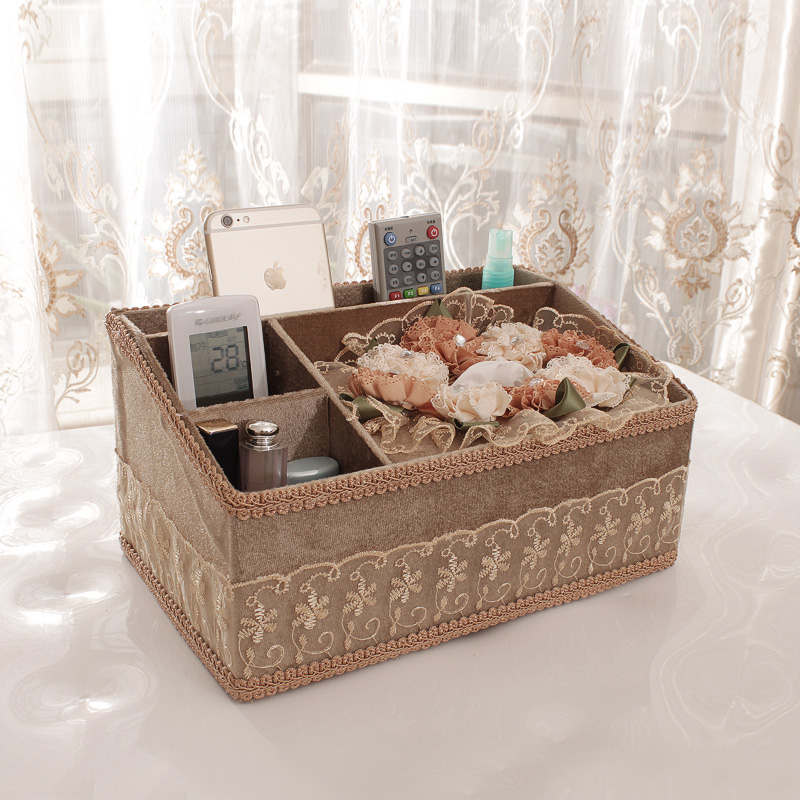 Multifunction remote control tissue box storage box ideas living room napkin box pumping tray home fabric tissue box paper drawn box