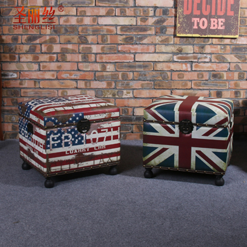 Multifunctional wooden mini retro sofa stool storage stool stool stool changing his shoes sofa stool storage box storage material benches
