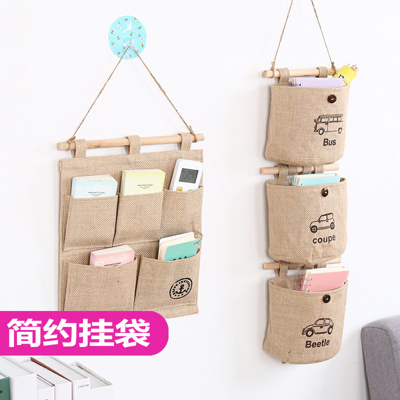 Get Quotations · Multilayer Storage Bag Hanging Pocket Thick Linen Hanging  Wall Debris Pouch Wall After Wall Door Storage