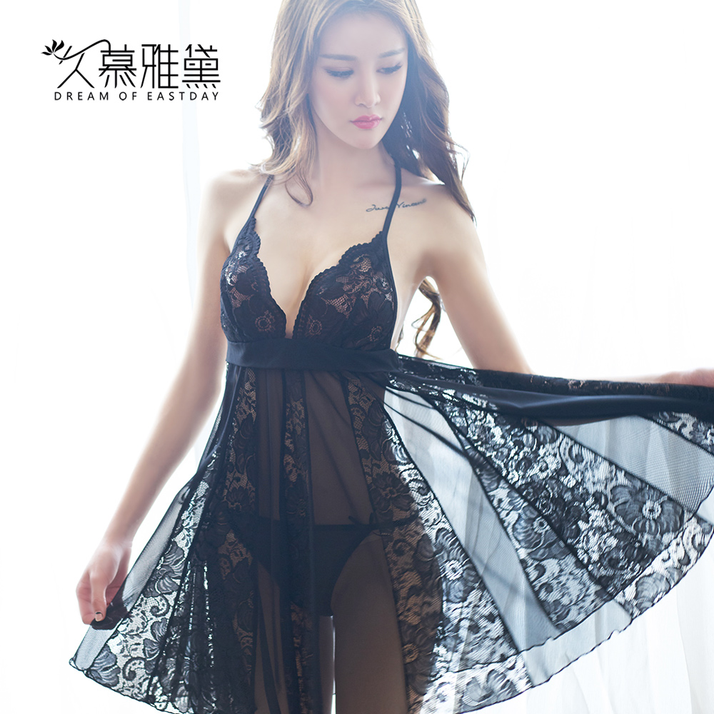 Muya dai long sexy pajamas female sao sexy net yarn stitching lace the united states back sexy lingerie pajamas female summer sling lingerie