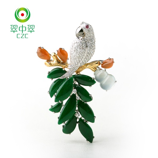 Myanmar a cargo of ice kinds of tree leaf gourd full of green jade pendant pendant pendant brooch female models