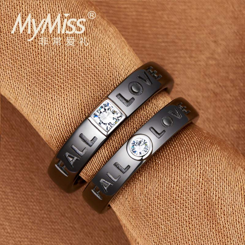 Mymiss romantic love 925 korean version of the creative couple rings silver rings for men and women simple ring ring opening