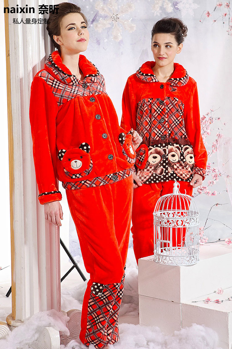 Nai xin custom 155 new coral velvet ms. warm casual and comfortable pajamas nightgown tracksuit suit
