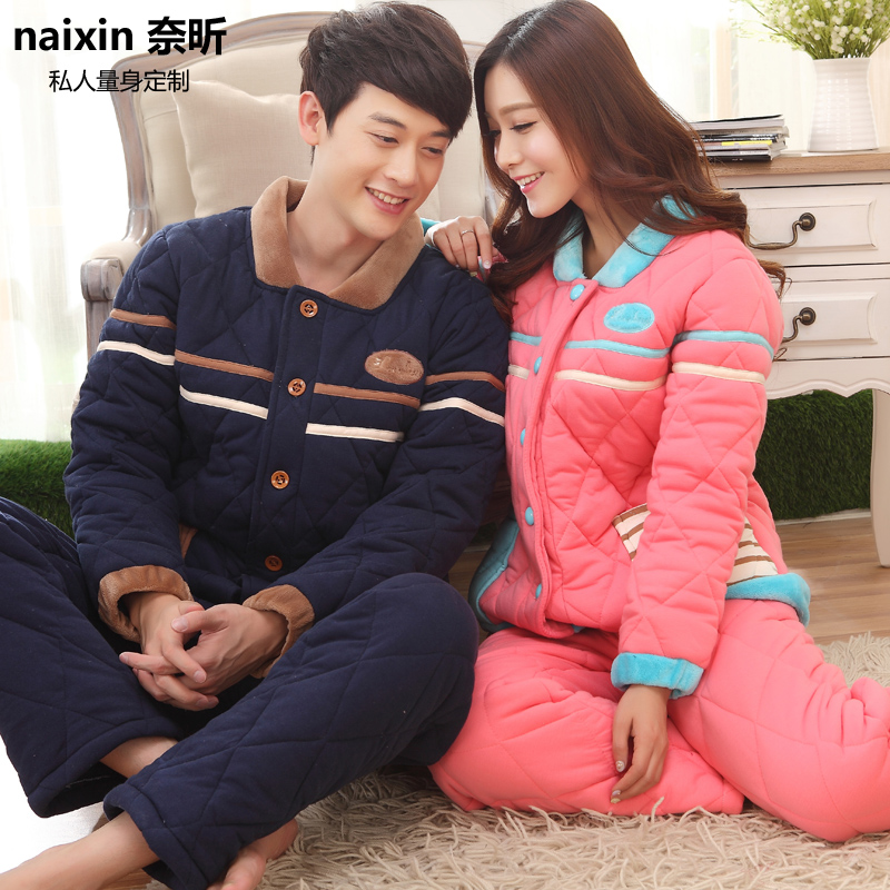 Nai xin custom 2016 winter new fashion thick warm quilted suit tracksuit couple 170
