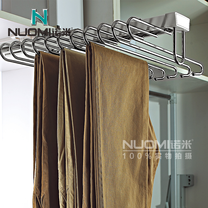 Naomi top mounted side mounted telescopic trousers rack wardrobe pants rack pants pants rack pants hanger hanging wardrobe cabinet hardware equipped with damping