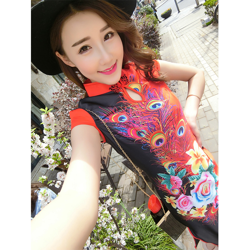 National wind long paragraph cheongsam 2016 new short sleeve printed peacock drops collar slim retro cheongsam dress summer