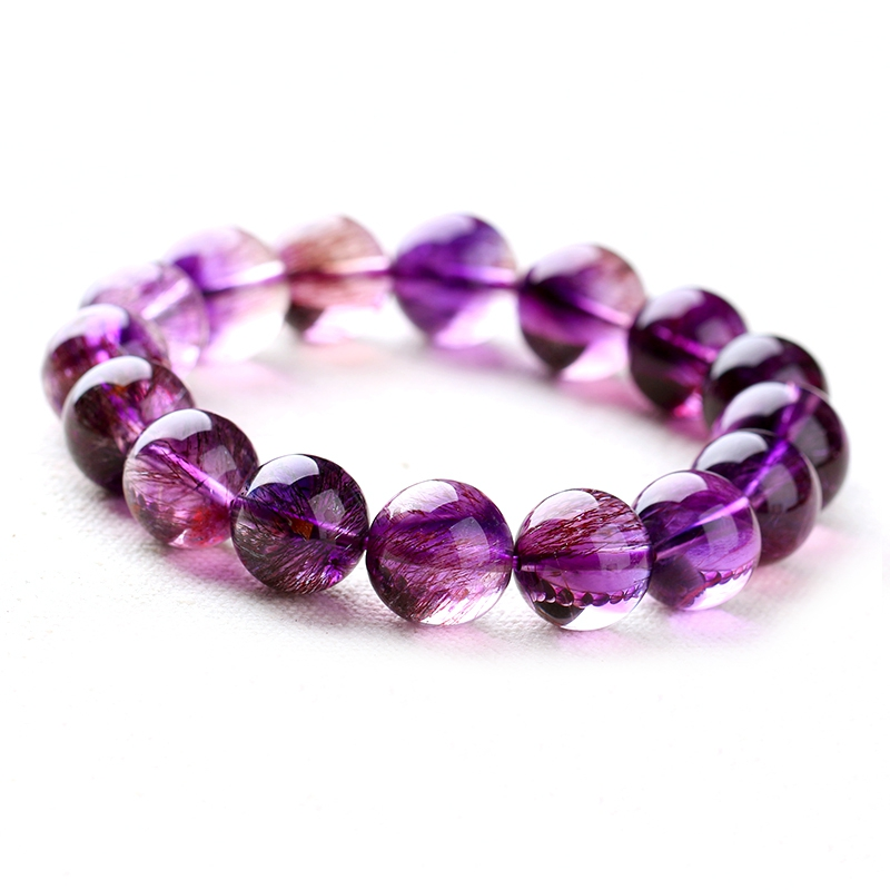 Natural crystal violet purple hair purple hair crystal crystal bracelet amethyst bracelet crystal bracelet bracelet 14mm