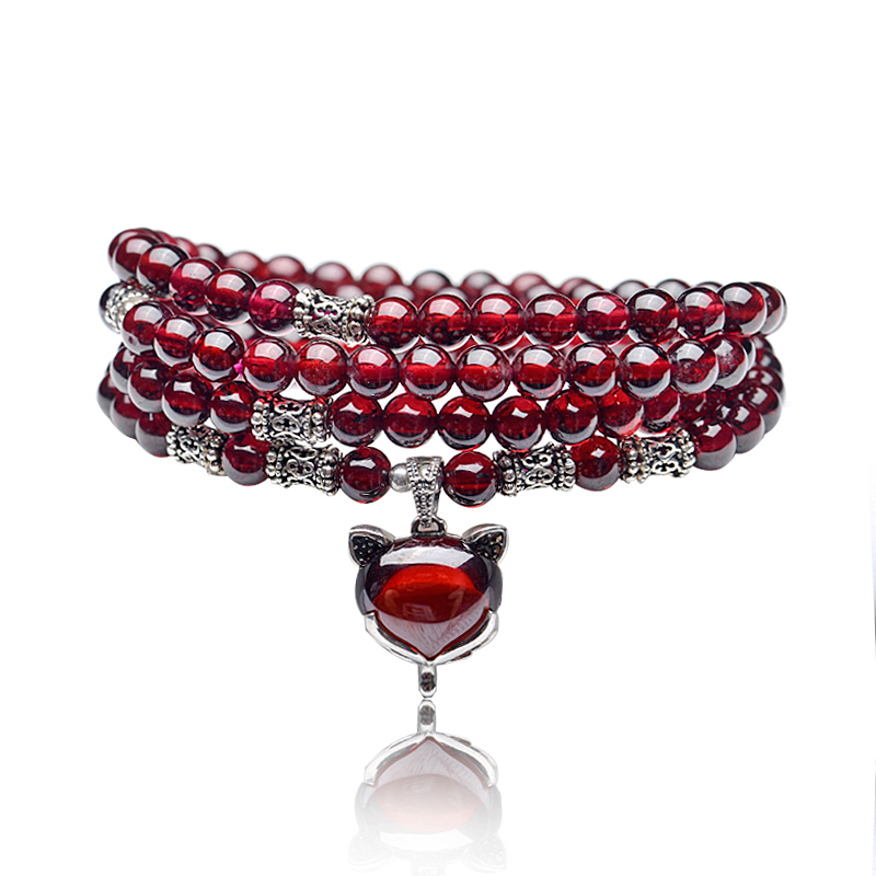 Natural garnet bracelet natural burgundy garnet bracelet multilayer multiturn 108 female models crystal jewelry