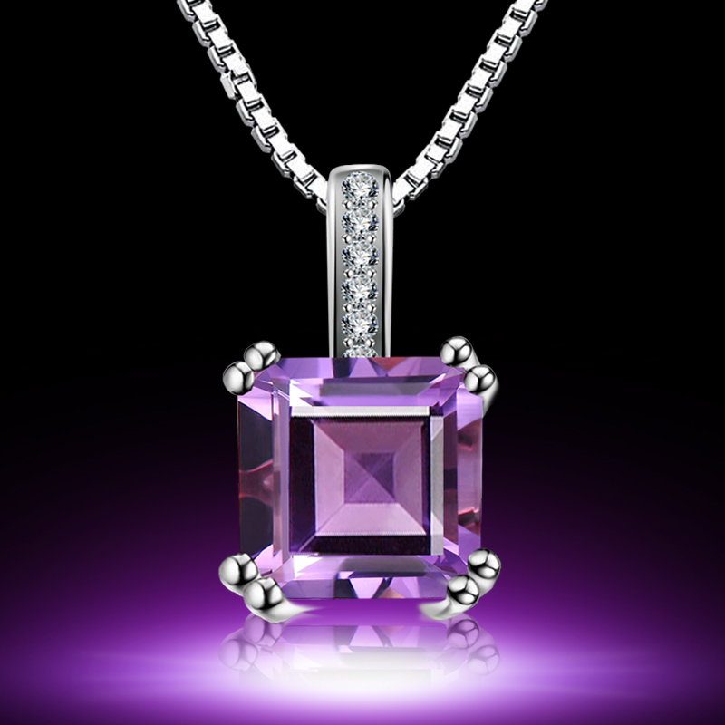 Natural gemstone amethyst pendant in sterling silver chain 925 silver necklace decorated female short paragraph clavicle chain accessories teachers' day ceremony