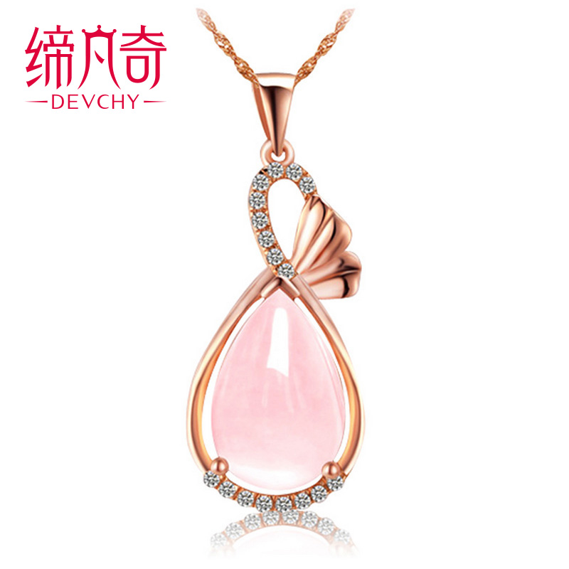 Natural rose quartz rose quartz pendant necklace female natural crystal droplets necklace 925 silver jewelry necklace jewelry