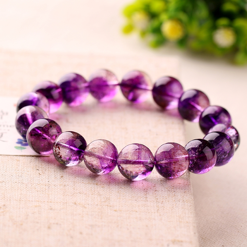 Natural strawberry crystal bracelet purple hair purple hair crystal bracelet amethyst bracelet amethyst purple hair crystal 12mm
