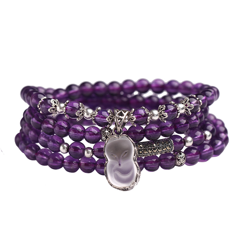 Natural uruguay natural amethyst crystal bracelet white crystal fox amethyst 925 silver bracelets female couple gift