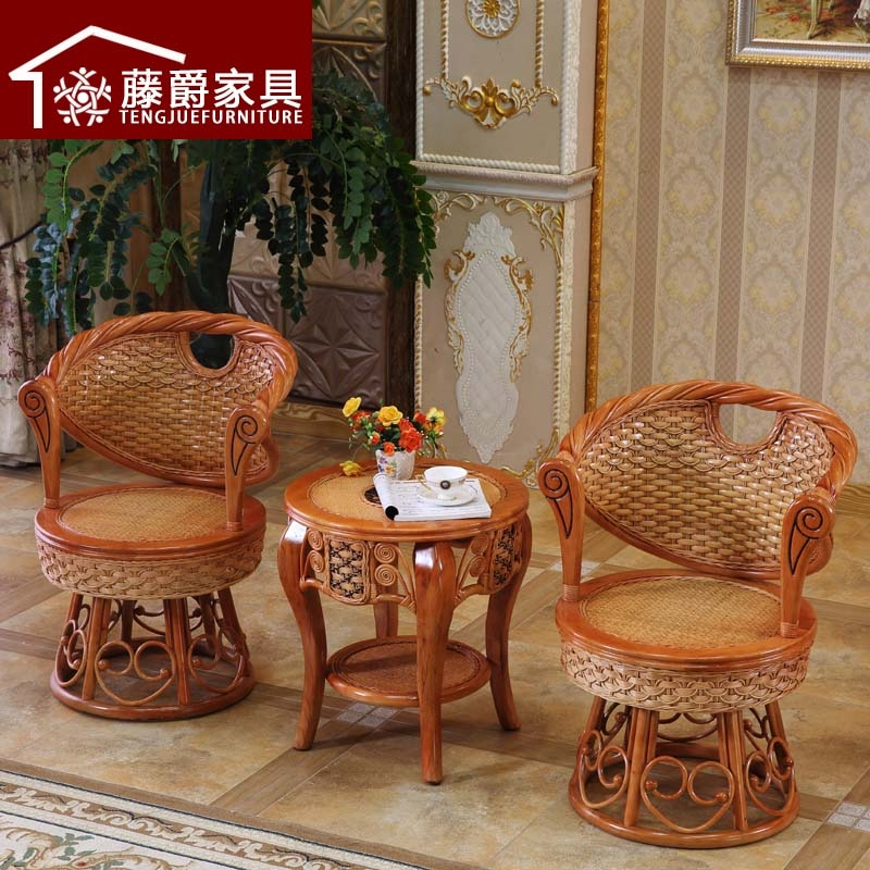 Natural wicker chair wicker chair three sets of balcony living room coffee table outdoor tables and chairs wicker chair combination lounge chair rattan chair rattan chair rattan chair
