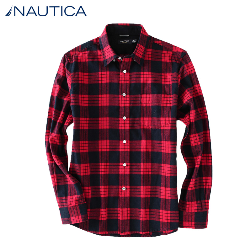 Nautica/nautica 14 years dongkuan men's urban casual cotton plaid shirt WC44103H