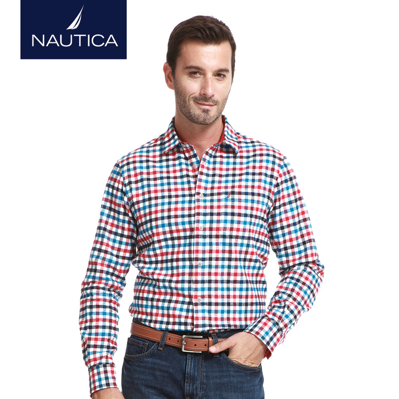 Nautica/nautica men's winter business casual men's flannel plaid long sleeve shirt W43931