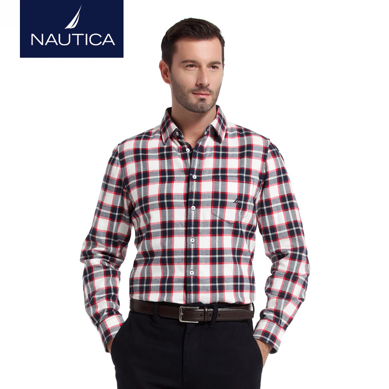 Nautica/nautica men's winter casual plaid flannel long sleeve shirt WC4 4002 h