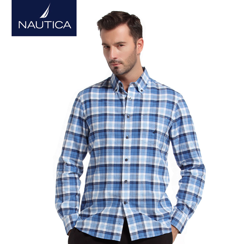 Nautica/nautica men's winter urban fashion casual men's plaid long sleeve shirt W43231