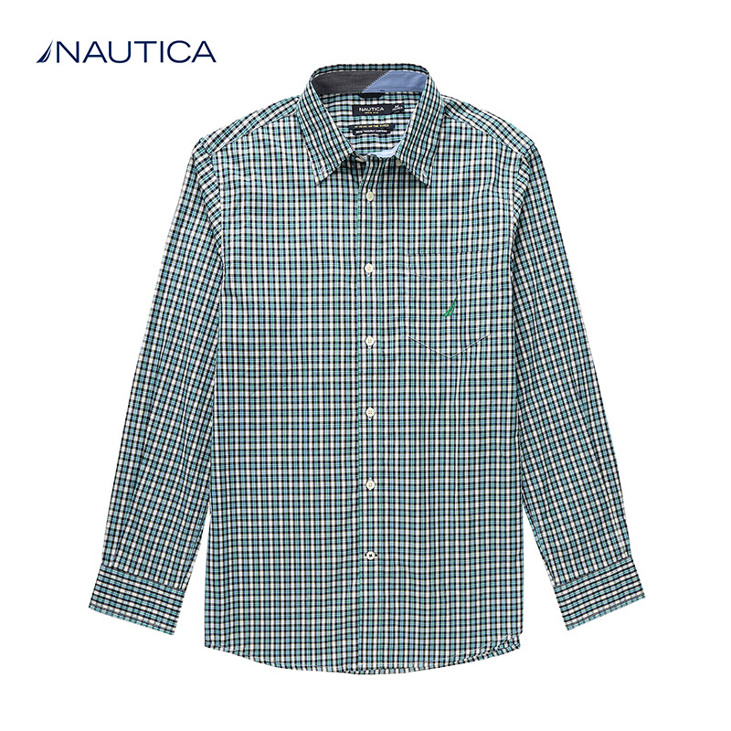 Nautica/nautica urban leisure dongkuan men's cotton plaid long sleeve shirt W31305L