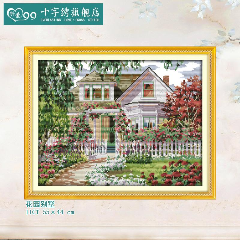 Needle love 99 new exquisite fabric corridor villa garden landscape paintings clear printing stitch handiwork