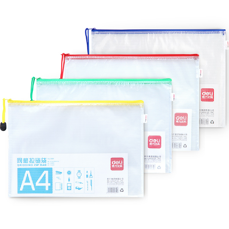 New deli (deli) 5654-A4 mesh zipper bag document bag edge bags mesh bags