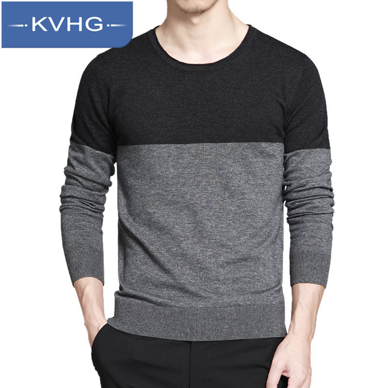 New fall fashion breathable long sleeve t-shirt KVHG2016 youth personalized t-shirt men hit the color round neck coat 3587