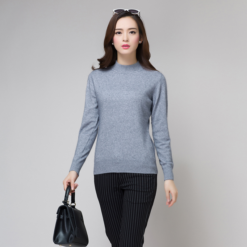 Get Quotations · New fall half high collar cashmere sweater women sweater  hedging slim wild round neck solid color ab71e766d