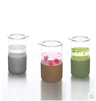 New heat glass cup of green tea cups shang ming silicone insulation cup coffee mug cup 450/620 ml