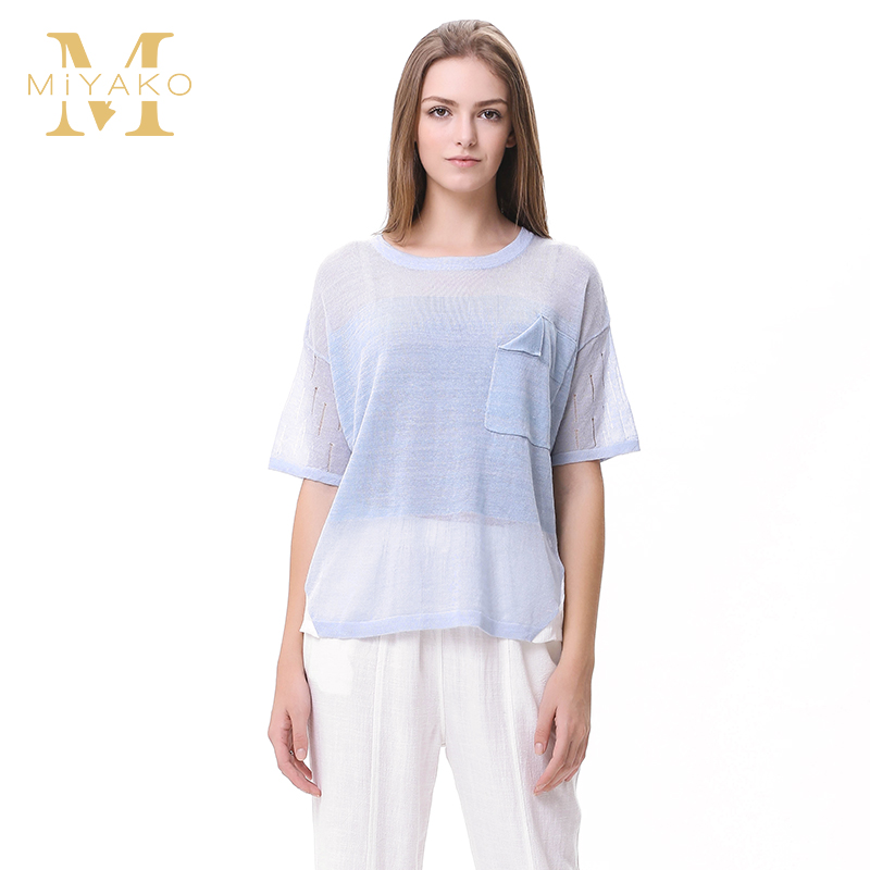 美雅高new hollow sweater female loose big yards linen shirt linen shirt female summer short sleeve cotton piece