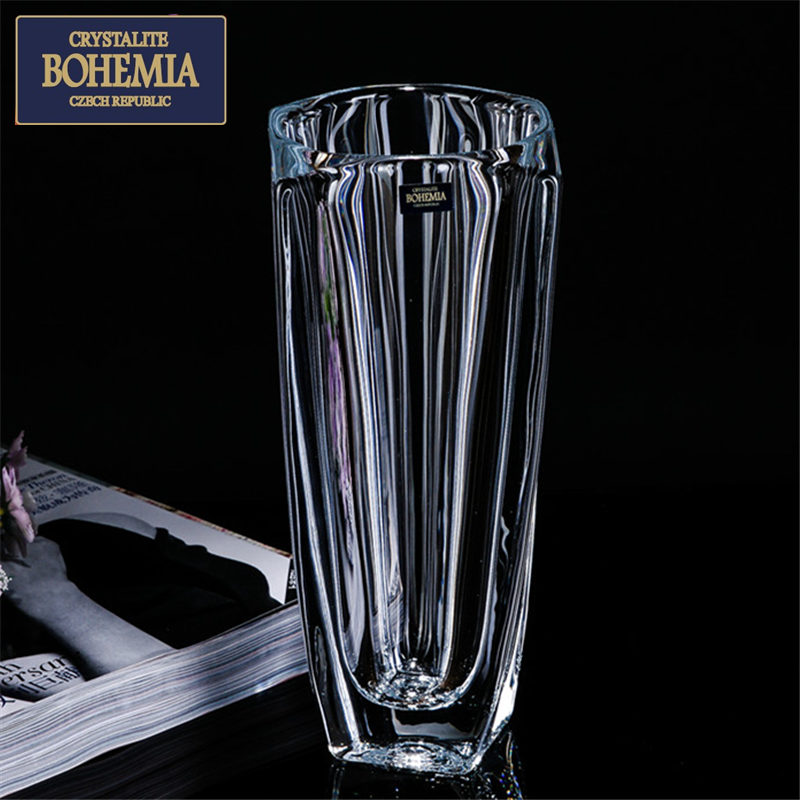 New imported bohemia czech bohemian crystal glass countertops decorative lily flower vase square