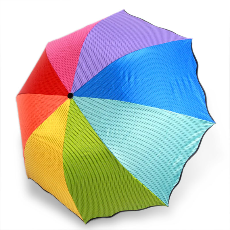 New korean female creative umbrella umbrella rain or shine dual sun umbrella folding princess point colorful rainbow umbrella sunscreen vinyl
