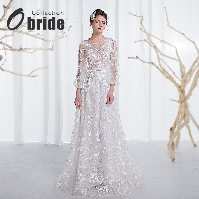 New lace wedding dress obride collar v-neck long sleeve retro light wedding dress bride wedding dress sen female line