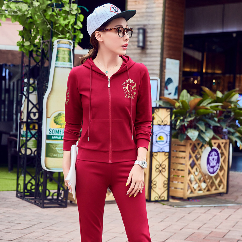 New spring and autumn ladies fashion sports suit early autumn 2016 autumn long sleeve casual clothes trousers influx of women