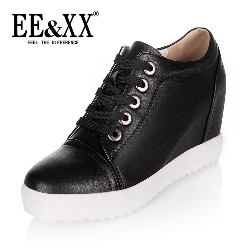 New spring fashion EEXX2016 dealed comfortable deep mouth round low shoes increased leisure shoes tide 8368