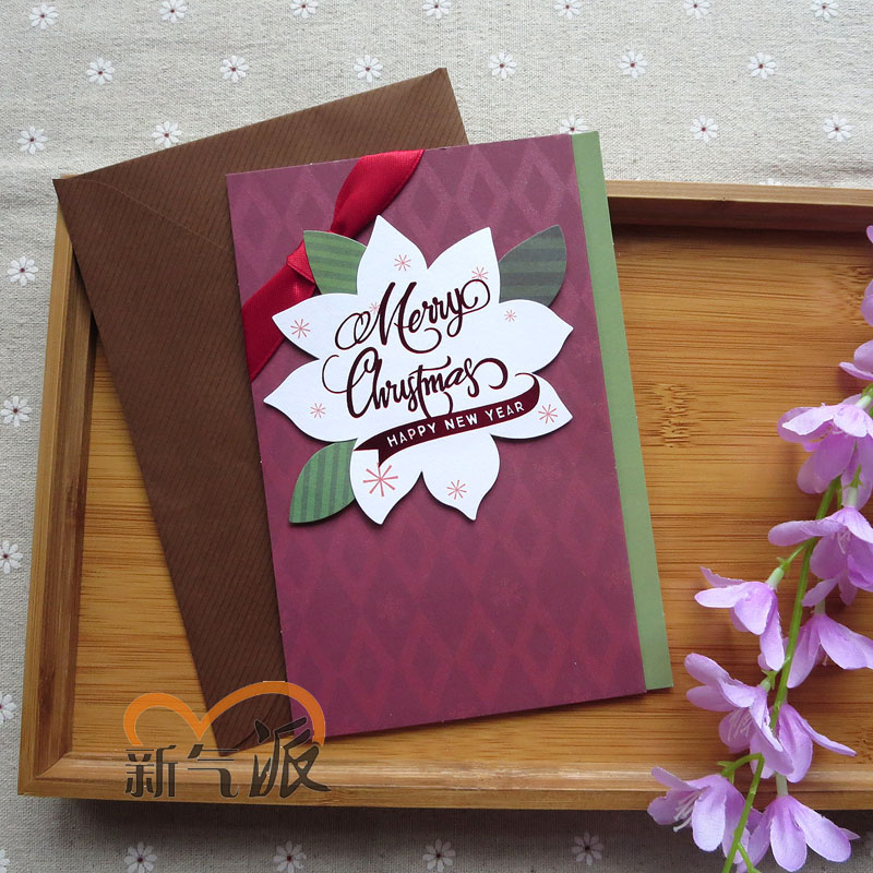 New style ~ new three-dimensional christmas cards christmas cards christmas greeting cards-ribbon handmade christmas greeting cards